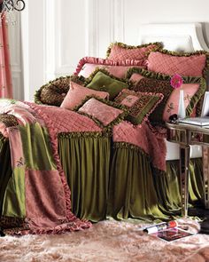 """""""Strawberry Mousse"""" Bed Linens by Velvet Couture at Horchow."""