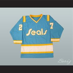 c8c36d622be4 Hockey Legend Gilles Meloche 27 Hockey Jersey California Golden Seals.  SHIPPING TIME IS ABOUT 3-5 weeksI HAVE ALL SIZES and can change Name and   (Width of ...