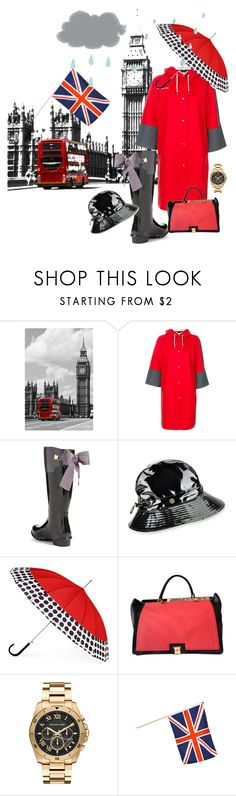 """""""What a Glorious Feeling Styling in London Rain"""" by shirley-de-gannes ❤ liked on Polyvore featuring Marni, Joules, Karen Kane, ShedRain, Furla and Michael Kors"""