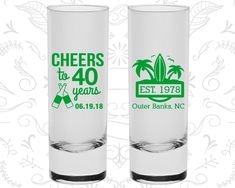 40th Birthday Shooter Glasses, Cheers to 40 years, Beach Birthday, Tropical Birthday, Birthday Tall Shot Glasses (20226)
