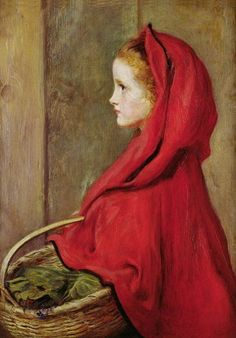 """""""Little Red Riding Hood""""1865 by John Everett Millais (English, 1829-1896)"""