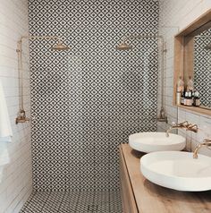 Beautiful patterned tiles are the focus of this bathroom teamed with off-white s. - - Beautiful patterned tiles are the focus of this bathroom teamed with off-white subway tiles and metallic accents Source by shelbytomasik