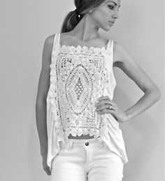 Trash To Couture: DIY. A touch of crochet blouse. Easy enough to add a similar-color panel behind the crochet for modesty.