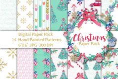 Christmas Digital Paper Seamless Patterns By Annakristal