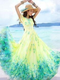 Yellow Floral Print Double-deck Wavy Edge Lace Elegant Maxi Dress