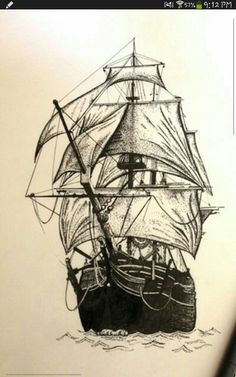 Ship Illustration - out to see Pirate Ship Tattoos, Pirate Tattoo, Tattoo Old School, Tattoo Bein, Old Sailing Ships, Desenho Tattoo, Nautical Art, Ship Art, Pyrography