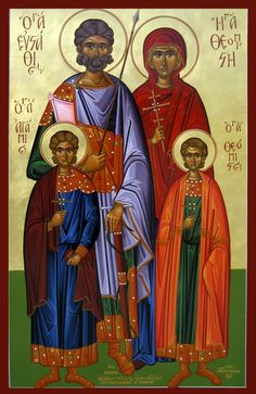 Eustathius (Eustace) Placidas the Great Martyr with his wife, St. Theopiste and their children, St. Theopistes and St. Agapios by Michael Hadjimichael - September 20 Catholic Art, Catholic Saints, Religious Icons, Religious Art, Luke The Evangelist, Church Icon, Roman Church, Carolingian, The Cross Of Christ