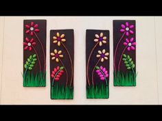Easy Paper Crafts, Diy Crafts For Gifts, Craft Stick Crafts, Wall Hanging Crafts, Diy Wall Art, Diy Art, Paper Flowers Diy, Flower Crafts, Diy Purse Making