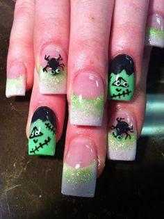 Acrylic overlay - Frankenstein bug Halloween nail art