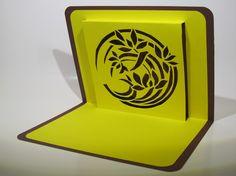 PADRES día tarjeta 3D Pop-Up silueta recorte Original diseño de bambú hecha a mano en color amarillo brillante y marrón uno de una clase