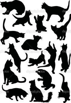 Illusztráció macska sziluettek gyűjtemény