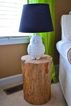 Cute owl lamp & DIY stump end table!