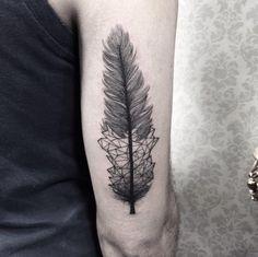 Geometric feather tattoo by Sandra Cunha