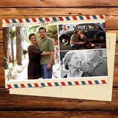 Travel Themed Three Photo Postcard Save the Date : Kxo Design   Custom Wedding Invitations, Modern Wedding Invitations, Custom Stationery