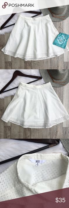 """White Eyelet High Waisted Skirt Jack by BB Dakota    White eyelet, high waisted skirt. Features a hidden side zipper and fully lined. Like new condition.   •size: 0 •color: white  Approx Measurements (laying flat):     •waist: 11.5"""" (high waisted)     •inseam: 15.5""""  {last photo shown for styling purposes and is not the actual skirt}  •no trades(comments politely ignored) •bundle to save Jack by BB Dakota Skirts Mini"""