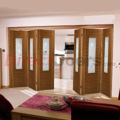 Now available, Nuvu Roomfold Coruna Walnut Veneered 6 Door Set with Frosted & Clear Squared Glass.  #nuvudoors