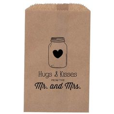 rustic wedding favors | Rustic Wedding Favor Mason Jar treat Bag Favor by inoroutmedia