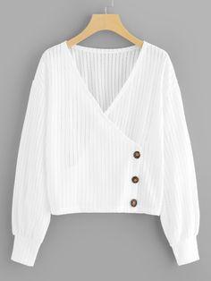 Shop Plus Solid Drop Shoulder V-Neck Blouse online. SHEIN offers Plus Solid Drop Shoulder V-Neck Blouse & more to fit your fashionable needs. Wrap Blouse, V Neck Blouse, Hijab Fashion, Fashion Dresses, Fashion Hair, Fall Fashion, Vetement Fashion, Plain Shirts, Plus Size Blouses
