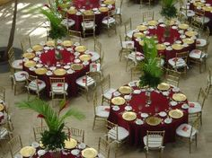 Red and Gold themed banquet decoration.