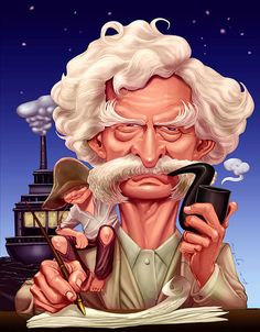 Mark Twain Caricature FOLLOW THIS BOARD FOR GREAT CARICATURES OR ANY OF OUR OTHER CARICATURE BOARDS. WE HAVE A FEW SEPERATED BY THINGS LIKE ACTORS, MUSICIANS, POLITICS. SPORTS AND MORE...CHECK 'EM OUT!!