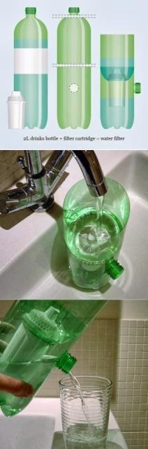 DIY Plastic Bottle Water Filter #Home #Garden #Trusper #Tip