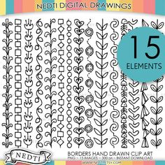 Borders Doodle Hand Drawn Clip Art Set  Hand drawn and design by Nedti    YOU WILL RECEIVE: Total 30 Clip Art Images in PNG format (1 zipped file)  15                                                                                                                                                      More