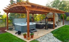 This one could cover one whole side of the backyard. Hot tub and seating area. Just have to get rid of center post on the pool side