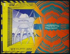 """Original 1st printing 273/8 x 21"""" concert poster for New Atlantis appearing with Jomo on 7/25-26/1969 and Shiva's Head Band appearing with Onion Creek on 8/1-2/1969, both shows held at the Vulcan Gas Company in Austin, TX (also list's Shiva's (Head Band) and Ramon Ramon  the Four Daddy-O's on """"Weds.-no booz""""  Click this image to join the Texas Psych Group. Now on Facebook! Around since 1998!"""