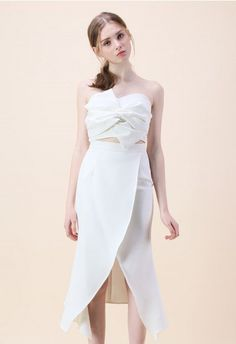 Sweet Knot Bustier Top and Flap Skirt Set in White Beige Dresses 9c7cf654e