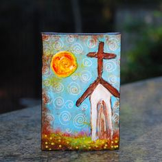 folk art churches | Church Folk Art original painting 4x6 by haveart on Etsy