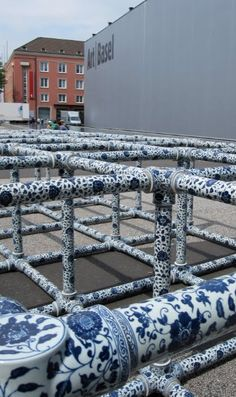 Field, by Ai Weiwei. Ming Dynasty-  patterned Chinese ceramic structure   in front of Art 41 Basel's entrance