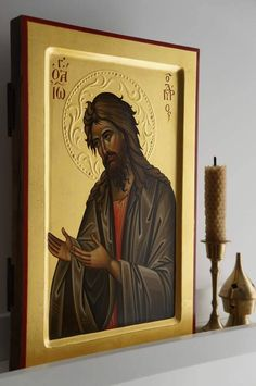 High quality hand-painted Orthodox icon of St John the Baptist (raised border). BlessedMart offers Religious icons in old Byzantine, Greek, Russian and Catholic style. Byzantine Icons, Byzantine Art, Religious Icons, Religious Art, Rosary Mysteries, Bible John, Greek Icons, Paint Icon, Religious Paintings