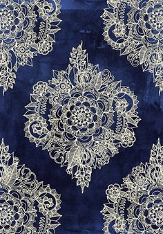 Cream Floral Moroccan Pattern on Deep Indigo Ink Art Print  Great background for a world map!