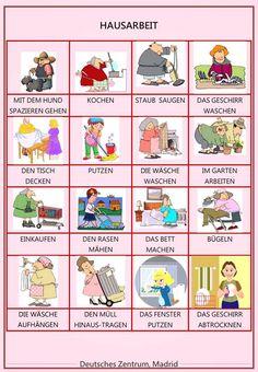 Household work Study German, Learn German, German Grammar, German Words, English Vocabulary Words, Grammar And Vocabulary, Adjectives For Kids, Deutsch Language, Germany Language