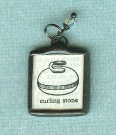 Vintage dictionary curling stone pendant Curling Canada, Olympic Curling, Curling Stone, Stone Pendants, Olympics, Fun Stuff, Curls, Rocks, Stones
