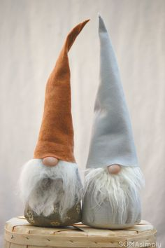 green and brown GNOME tomten by SOMAsimply on Etsy