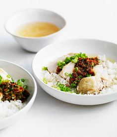 Australian Gourmet Traveller fast recipe for Chinese chicken with soupy rice, ginger and spring onion dressing.