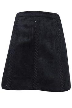 Faux Suede Stitch Detail Skirt - Black #shoppitaya