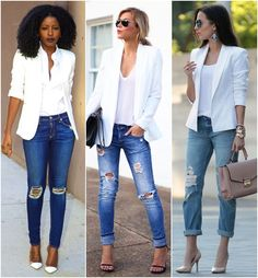 Para Inspirar – Blazer Branco e Jeans Rasgado! Mais To Inspire – White Blazer and Ripped Jeans! Blazer And T Shirt, Look Blazer, Blazer Jeans, Womens Blazer And Jeans, White Tshirt And Jeans, Casual Blazer, Sexy Jeans, Blazer Jacket, Look Fashion