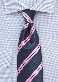 Preppy Summer Tie in Navy and Pink
