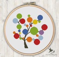 Rainbow Tree Cross Stitch Pattern modern por CrossStitchHobbyShop