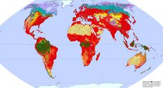 Wilderness areas of the world - the red areas in the map have heavy human influence, while the others represent wilderness #map #ecology #green