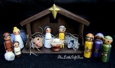 Nativity Set of 14 pieces/ hand painted / wood peg dolls/