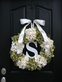 Wedding Decorations, Wedding Wreaths, Personalized Wedding Gifts, Brides Maid Gifts, Hydrangea Wreaths, Summer Hydrangeas, Front Door Wreath