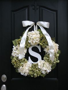 Wedding Decorations, Wedding Wreaths, Personalized Wedding Gifts, Brides Maid Gifts, Hydrangea Wreaths, Summer Hydrangeas, Front Door Wreath