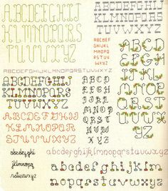 Cross-stitch alphabets - Vintage pattern leaflet.