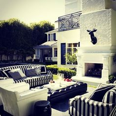 Black and white outdoor area