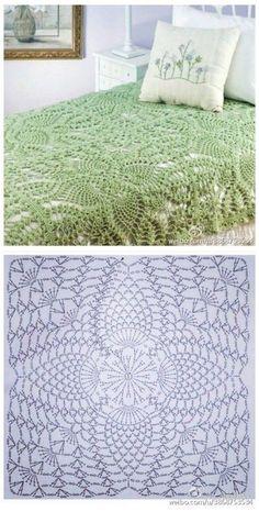 Crochet Bedspread Pattern, Crochet Doily Rug, Crochet Square Patterns, Crochet Tablecloth, Crochet Pillow, Crochet Diagram, Doily Patterns, Crochet Chart, Crochet Squares