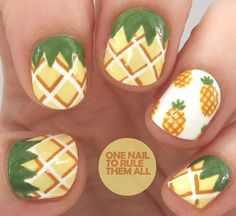 Nails for kids summer nails - Summer Nail Colors Ideen Food Nail Art, Fruit Nail Art, Cute Nail Art, Cute Nails, Nail Art Designs, Pineapple Nails, Pineapple Art, Pineapple Design, Nail Art For Kids