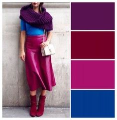 Colour Combinations Fashion, Color Combinations For Clothes, Color Blocking Outfits, Fashion Colours, Colorful Fashion, Color Combos, Lila Outfits, Fashion Week, Fashion Outfits